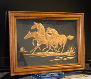 Copper horse picture, framed