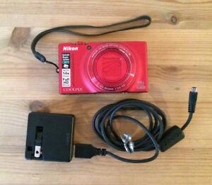 Nikon 26288 CoolPix S8200 Camera (Red)
