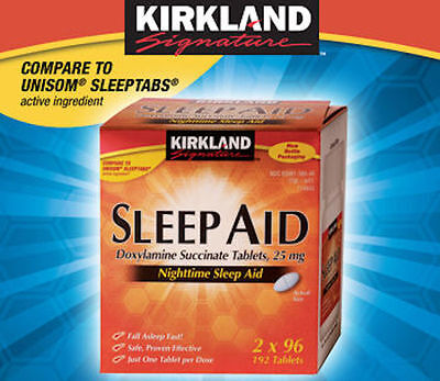 Kirkland Sleep Aid Doxylamine Succinate 25mg 192 Tablets 2 Bottles Sleeping Pill