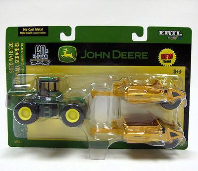 1/64 ERTL John Deere 9520 with 2 Scrapers