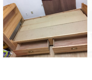 Solid single wooden bed for sale