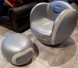 Coors Light Beer Silver Bullet Football Chair and Ottoman-$80