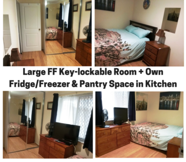 Large key-lockable FF Room + own fridge in quiet home @ $155pw