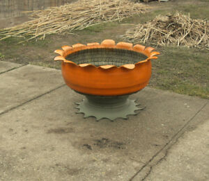 Art Recycled Tire Orange Flower Outdoor Planter