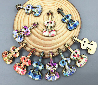 20pcs pattern Printing violin Shape Wooden Buttons sewing scrapbooking 3.5mm