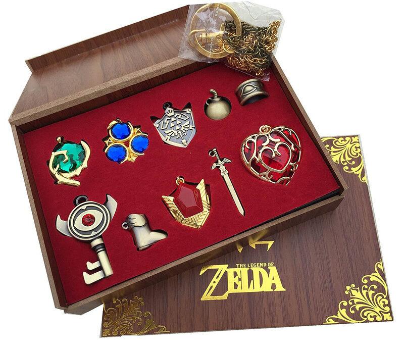 The Legend of Zelda Link Hylian Sword Keychain Necklace 10pcs Collection Set