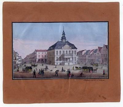 Hamburg-Teilansicht-Rathausmarkt in Altona - altkolorierte Lithographie um 1850
