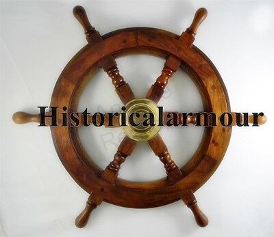 "24"" ship STEERING WHEEL wooden antique sty teak brass nautical home furniture"