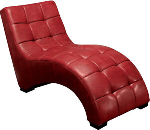 Brand New - Red Faux Leather Chaise