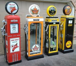 KUSTOM GAS PUMP DISPLAY CABINETS, TEXACO, RED INDIAN, H. D.