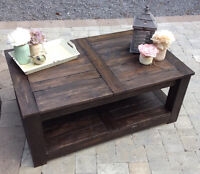 Straight Leg 2 Tier Rectangle Coffee Table Breadboard styled top