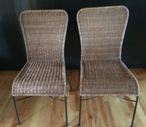A Pair of  Metal and Wicker Chairs, GREAT CHAIRS !!!