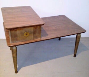 SPACE AGE Coffee Side Table WOOD BRASS Antique FREE DELIVERY