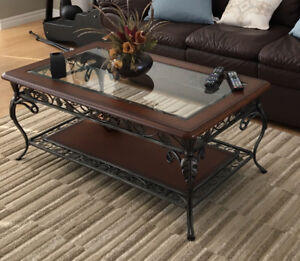 Coffee table, 2 end tables and a behind the couch table