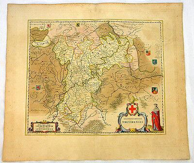TRIER KOBLENZ RHEINLAND ALTKOL KUPFERSTICH KARTE GOLDHÖHUNG BLAEU 1662 #D936S