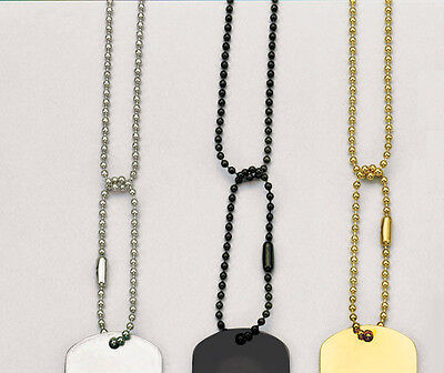 G.I. Military-Type Dog Tag Chains - No Tags - Silver, Gold, (Type Dog)