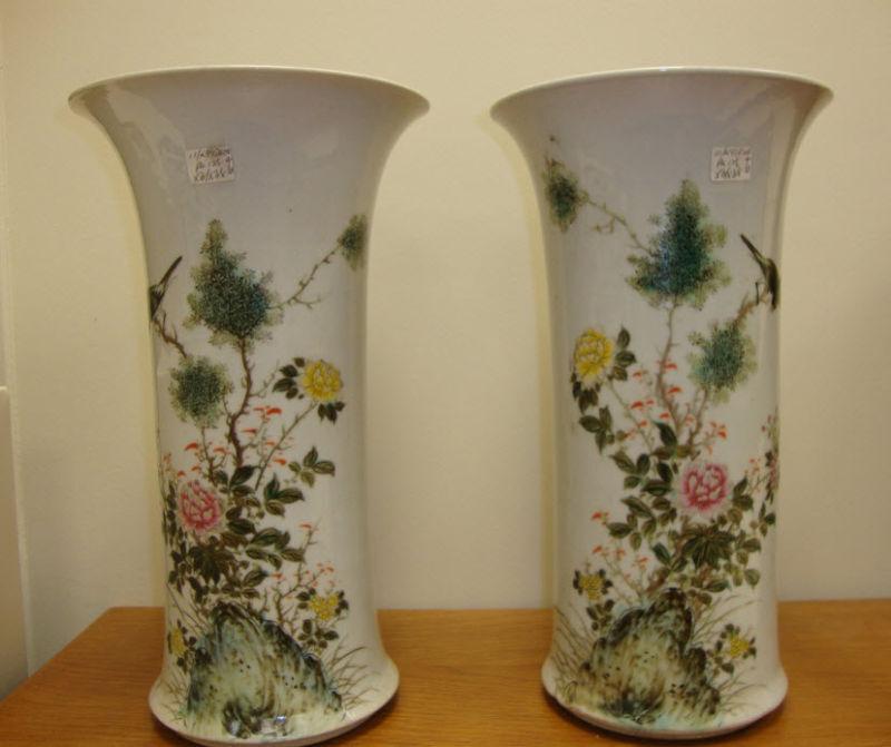 pair vintage chinese porcelain famille rose vase mark signed flower birds