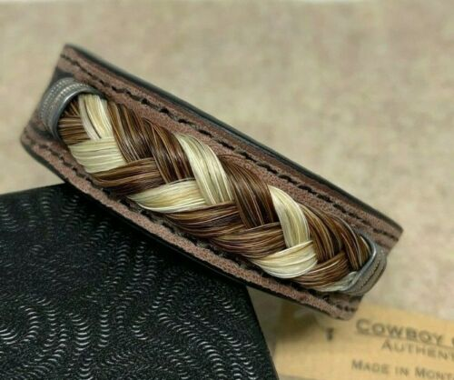 """Cowboy Collectibles Tooled Brown Leather and Horsehair Bracelet 7 1/8"""" x 1/2"""""""
