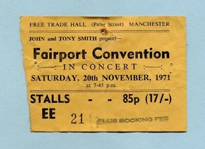1971 Fairport Convention concert ticket stub Free Trade Hall Manchester UK
