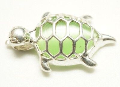 Adorable / Sterling Silver & Interchangeable Green Tigers Eye / Turtle Pendant