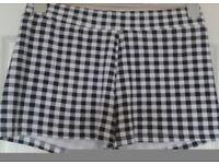 Black And White Checked Shorts, UK 14