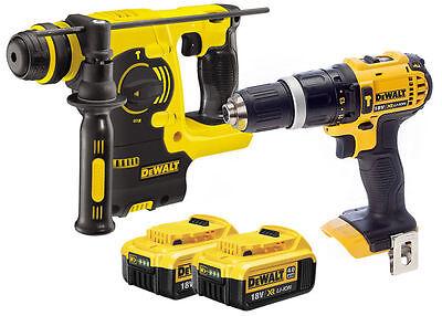 Dewalt DCH253 18V XR SDS+ Rotary Hammer + DCD785 Combi Hammer + 2x 4Ah Batteries