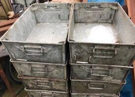 Metal Tote Bin Container Upcycled Drawer Garage Window Gift Beer Wedding Flower Planters Box Garden