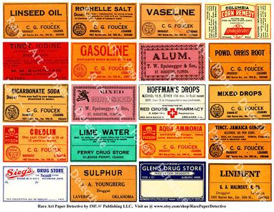 Pharmacy Labels, Antique Labels, Printed Apothecary Clip Art, Medicine Bottle Antique Label Art