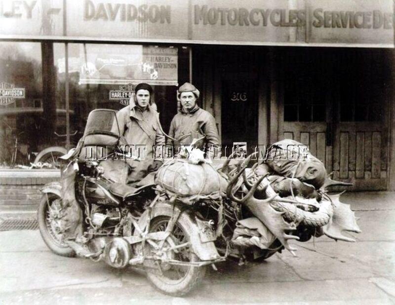 ANTIQUE REPRO 8X10 MOOSE HUNTING PHOTO HARLEY DAVIDSON SIDECAR MOTORCYCLE