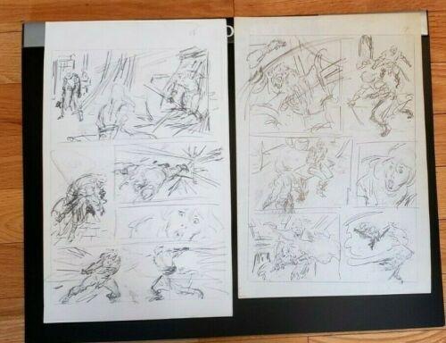 John Buscema Original Pencil Art - Lot of Two Consecutive Pages plus Comic