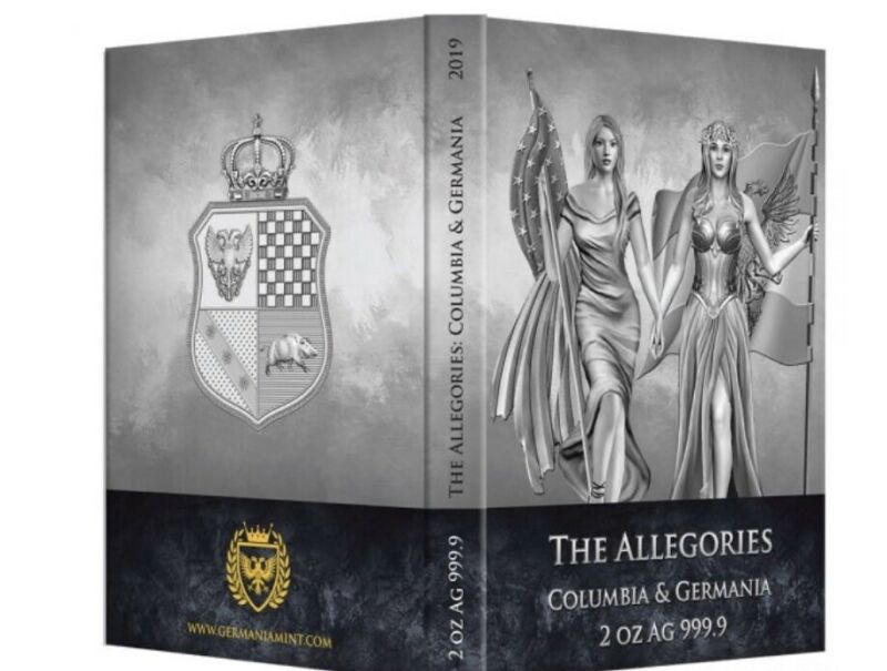 2019 Allegories Series (2nd Issue) Columbia and Germania 2 oz Silver BU Ebux