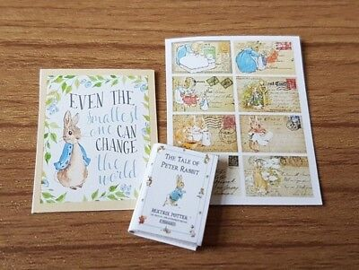 Beatrix Potter peter rabbit book set 1:12th scale dolls house nursery toys UK