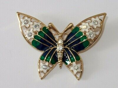Absolute Beautiful Butterfly Gold Tone with Crystals Multi Colours ENAMEL Brooch