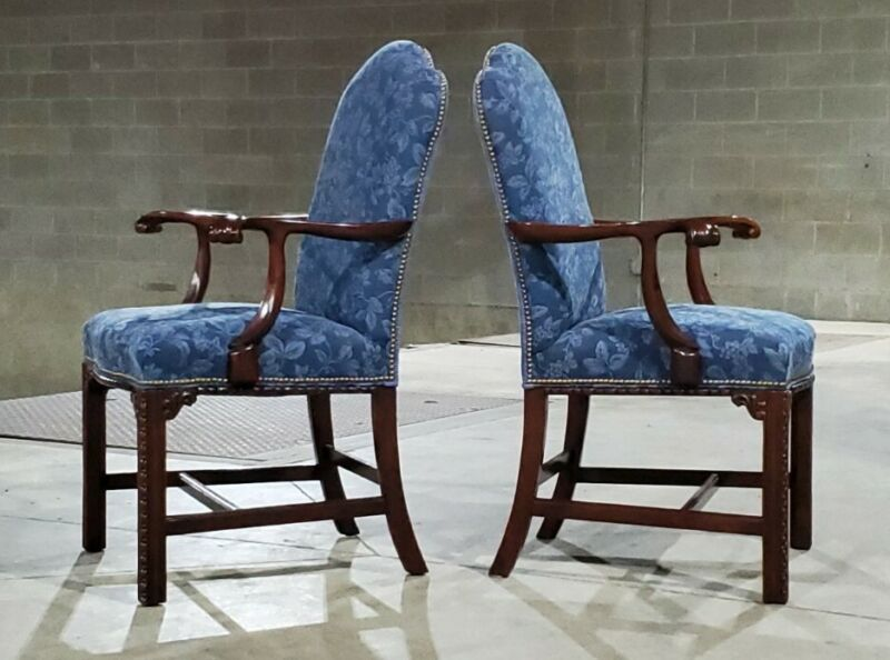 Pair Of Southwood Mahogany Chippendale  Arm Chairs *(Ask For A Shipping Quote)*