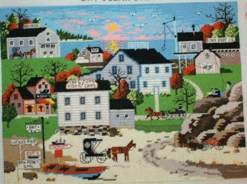Fishing Village Houses Ocean Horses Dimensions Needlepoint Completed Finished