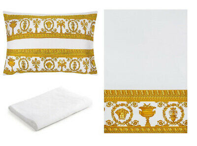 Versace Baroque Medusa Queen Size Bed Sheet Set 4 pieces White