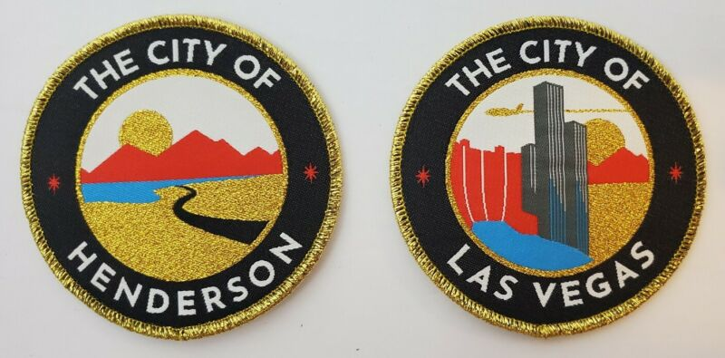 """Two 3"""" Las Vegas & Henderson City Patches - Golden Knights Nevada Day Game SGA"""