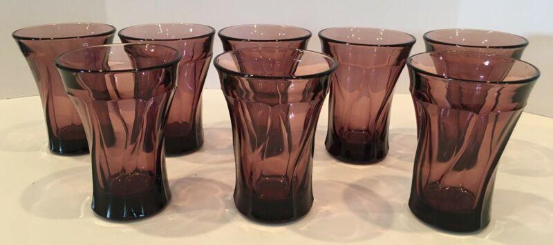 PURPLE AMETHYST WATER GLASSES 8 TOTAL