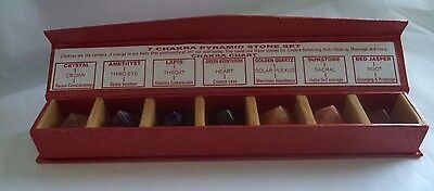 COMPLETE SET OF ALL 7 CHAKRA PYRAMID GEMSTONES IN A GIFT BOX (Crystal Healing)