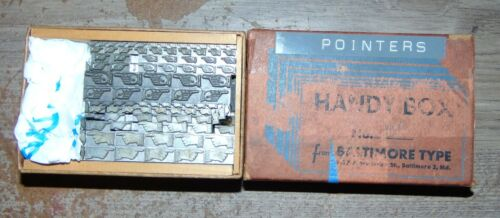 Vintage Letterpress Handy Box Of Lead Finger Pointers