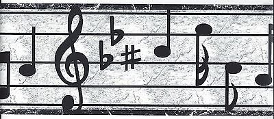 Black and White Music Notes Peel & Stick Border QA4W1416