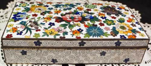 Stunning Cloisonne Metal & Enamel Box with Vivid Multi-colored Flowers MUST SEE