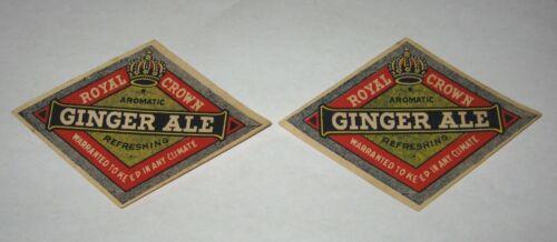 Lot of 2 RC Royal Crown Cola Ginger Ale Diamond Shape Paper Bottle Labels