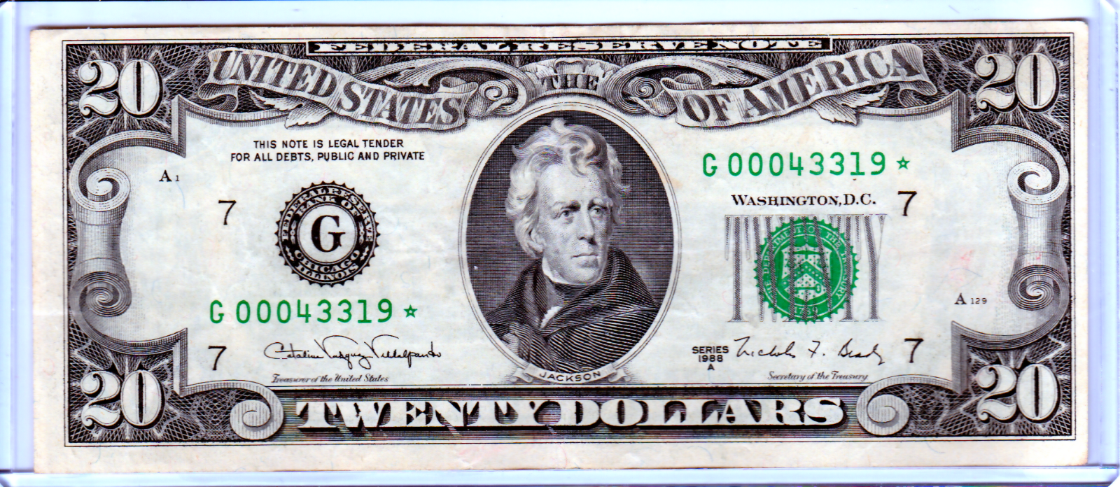 Very Rare 1988 20 Federal Reserve STAR NOTE Bill - VINTAGE OLD MONEY - 068  - $44.95