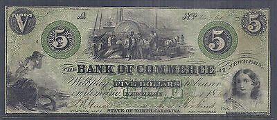 September 18 1861 Us Obsolete Currency   Bank Of Commerce  Sc    5  Plate A