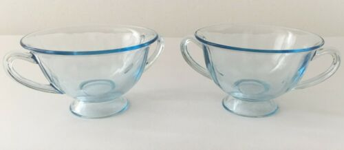 2 BLUE FOOTED FOSTORIA DOUBLE HANDLE BOUILLON OR SOUP GLASS CUPS