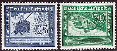 Deutsches Reich 669/70 ** 100. Geburtstag Graf von Zeppelin, kpl. postfrisch