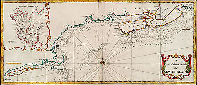 1758 Nautical Map Coast New England Long Island to Nova Scotia Wall Art Decor