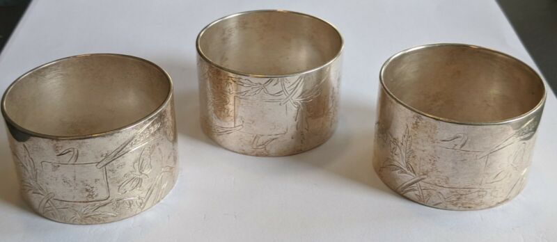 Set of 3 Christofle France Silverplate Napkin Rings Butterflies No Monograms