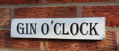 Gin O'Clock Free Standing Shabby Vintage Chic Sign Bar Plaque Drinks Sign